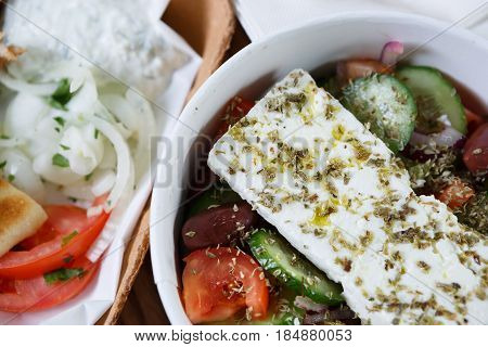 Fresh Natural Vegeterian Greek Salad With Olives & Feta Cheese