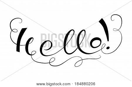 Lettering Hallo. Hand writting title. Vector illustration.