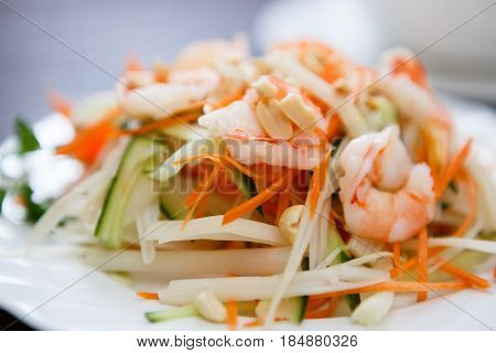 Vietnamese Restaurant Menu.tasty Shrimp & Vegetables Salad