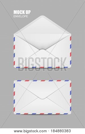 White Open and close Empy Envelopes. Template for Your Business. Vector illustration