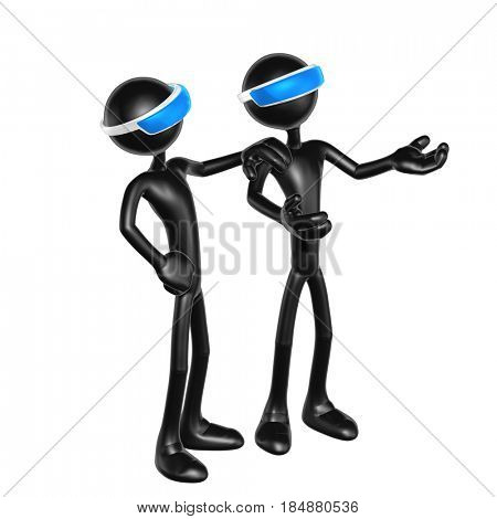 The Original 3D Characters Illustration Wearing An Augmented Reality Visors