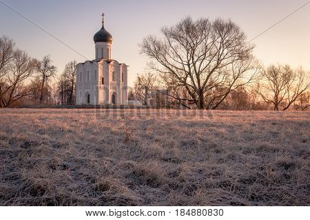View To The Church Of The Intercession Of The Holy Virgin On The Nerl River In Sunlight.