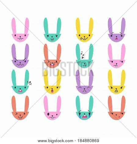 Set of cute color Easter bunny emoticons with happy and lovely faces, hand-drawn rabbit collection with various emotions, EPS 10