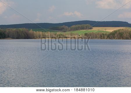 The lake Murner See in Bavaria in Spring Wackersdorf