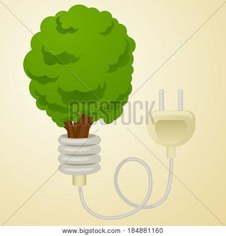 Green energy metaphor cartoon vector illustration. Tree with Power plug