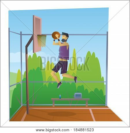 Digital vector abstract old cartoony man in sport outfit jumping and playing basketball on a playground, over blue background, flat triangle style