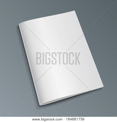 Blank Cover Of Magazine, Book, Booklet, Brochure. Illustration Isolated On Gray Background. Mock Up Template Ready For Your Design. Vector EPS10