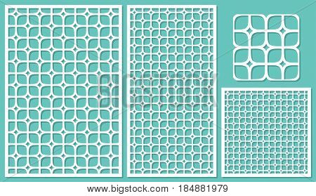 Set decorative panels-laser cutting. Square geometric pattern allover. The ratio 2:3, 1:2, 1:1, seamless. Vector illustration.