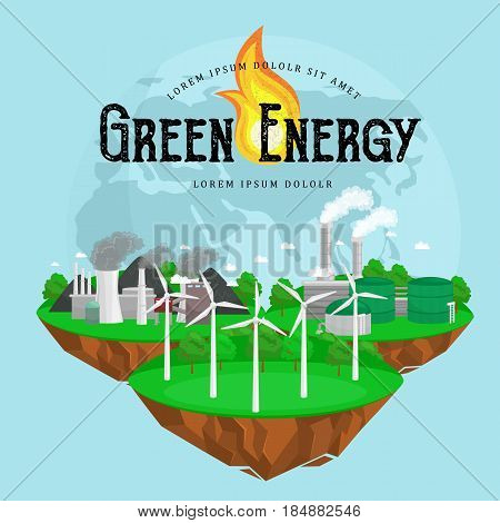 concept of alternative energy green power, environment save, renewable turbine energy, wind and solar ecology electricity, ecological industry vector illustration.