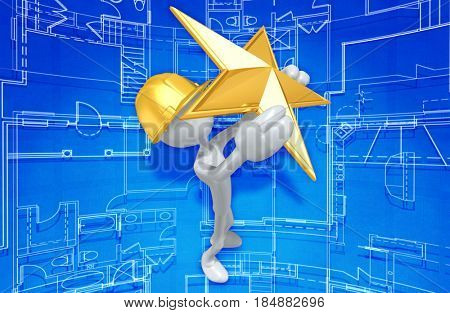 Construction Worker With A Star The Original 3D Character Illustration