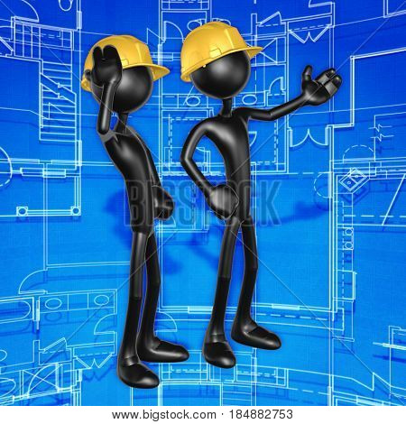 Construction Workers The Original 3D Characters  Illustration