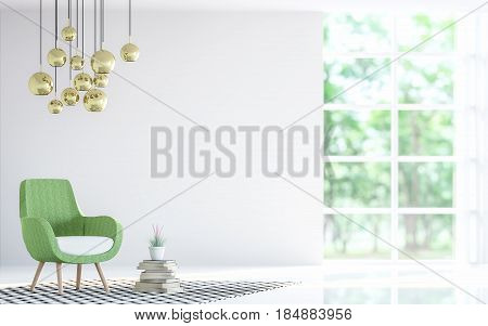 Modern white living room with green armchair 3d rendering image. Focus at armchair There are large window overlooking to nature and forest