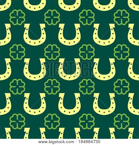 Good luck seamless pattern farewell vector lettering lucky horseshoe clover background greeting typography. Vintage word decorative symbol inscription expression banner.