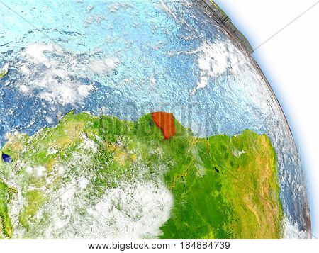 French Guiana On Model Of Earth
