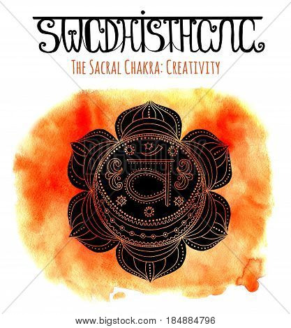 Black silhouette of sacral chakra on orange background with lettering. Hand drawn watercolor and graphic illustration, esoteric drawings