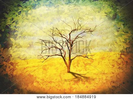 Surreal landscape of a single leafless dead gum tree in the desert with a vignette of leaves. Vintage grunge textured composite image. Climate change and global warming concepts.