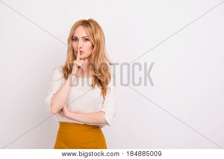 Portrait Of Mysterious Businesswoman Gesturing