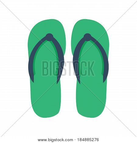 Slippers female with multicolored elements isolated on white background casual summer footwear pair design vector illustration. Vacation flop foot sandal travel flip rubber symbol.