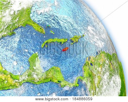Jamaica On Model Of Earth