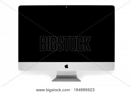 UKRAINE, RIVNE, May 4, 2017. Apple Computer iMac 27 retina display 5K keyboard and magic mouse isolated on a white background