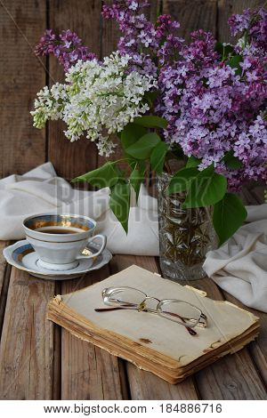 Romantic Composition Of  Bouquet White And Purple Lilacs, Cupcakes With Curd Cream, Cups Coffee, Old