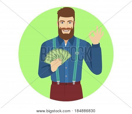 OK! Hipster with cash money showing a okay hand sign. Portrait of hipster character in a flat style. Vector illustration.