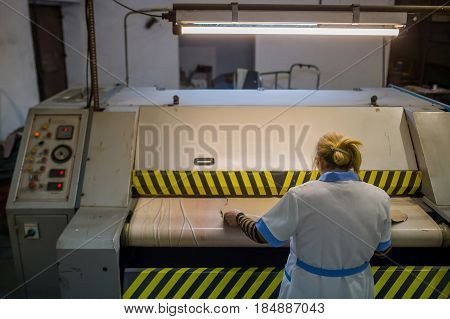Workers in production manufacturing  process, background, work