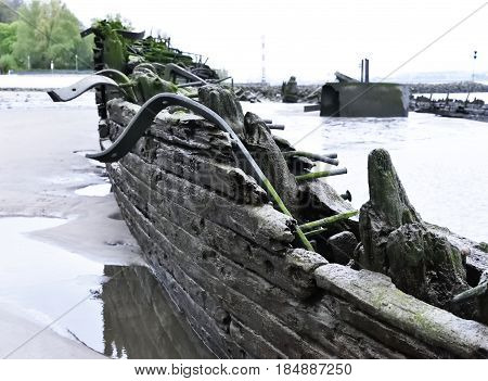 Old, stranded shipwreck on the beach with weathered wood. Close-up of an ancient ship wreckage. Beach scene. Hamburg ,elbe river.