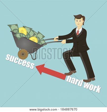 Successful businessman. Hard work. Successful businessman pulling a cart full of money. Vector illustration. Successful businessman is working to earn a lot of money.