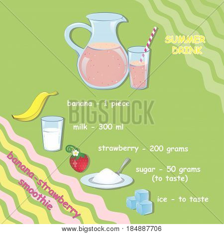 The recipe for a summer drink. Banana-strawberry smoothie. Cold drink strawberry and banana. Vector illustration card, magazine, café and restaurant menus. Fresh cocktail for a healthy lifestyle.