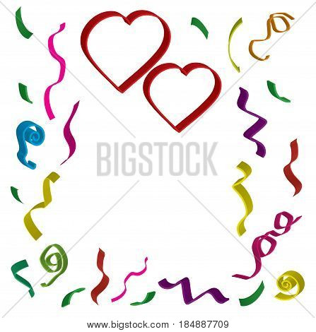 Two red hearts with ribbons and confetti in different colors in 3 d on white background