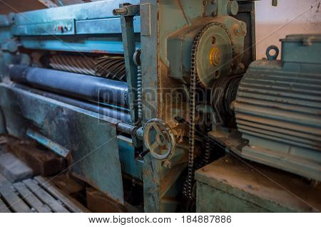 Industrial machine tools in production  wool, process, background
