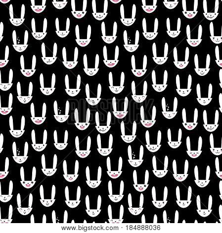 Seamless pattern with cute Easter bunny faces with happy and lovely emotions, hand-drawn white rabbits with various expressions, EPS 10