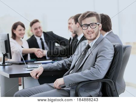 head of the financial Department at workplace on background of b