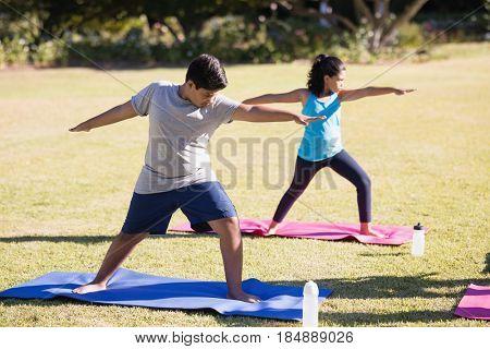 Kids practicing Virabhadrasana II on exercise mat at park