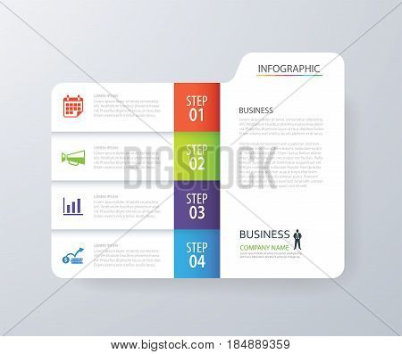 Infographic vertical 4 tab index design vector and marketing template business. Can be used for workflow layout diagram annual report web design. Business concept with options steps or processes.