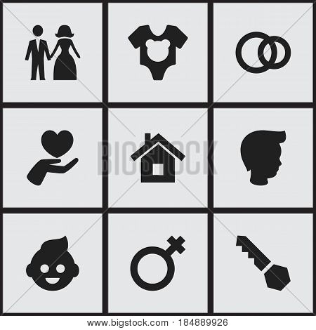 Set Of 9 Editable Kin Icons. Includes Symbols Such As Baby, Bodysuit, Woman Sign And More. Can Be Used For Web, Mobile, UI And Infographic Design.