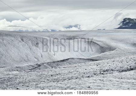 Frozen landscape on Mendenhall Glacier Juneau Alaska