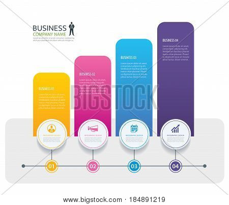 Infographic 4 tab design vector and marketing template business. Can be used for workflow layout diagram annual report web design.