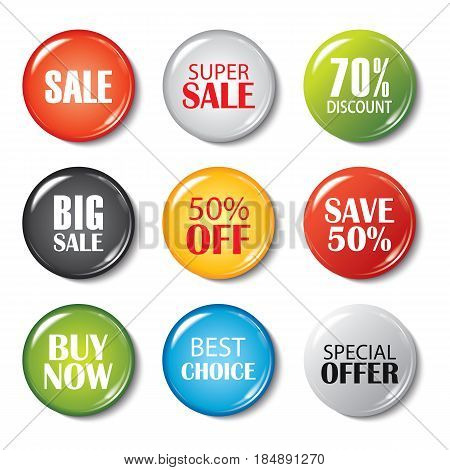 Set of sale buttons and badges. Product promotions. Big sale special offer 70% off.