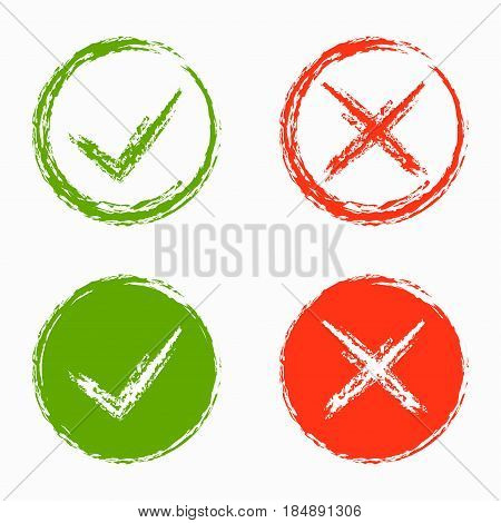 Set of green and red cross and hook Checkmark OK and X icons Symbols YES and NO button for vote decision web