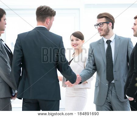 greeting business partners and their assistants.business partner