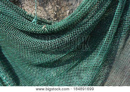 Green fishing net texture.