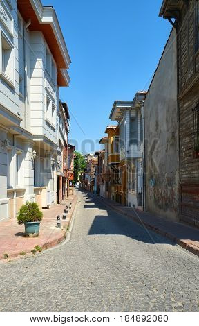 The street of Old Istanbul Fatih district Turkey