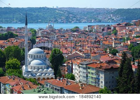 The View Of Haci Mahmut Camii And Residential Houses In Besiktas District Of Istanbul