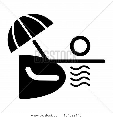 Ocean or sea beach, vector. Black and white vector illustration of sea shore with umbrella, chaise longue. Eps 10
