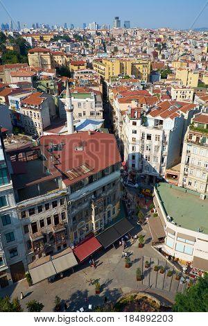 The Bird's-eye View  Of Serdar-i Ekrem Street From The Galata Tower. Istanbul.