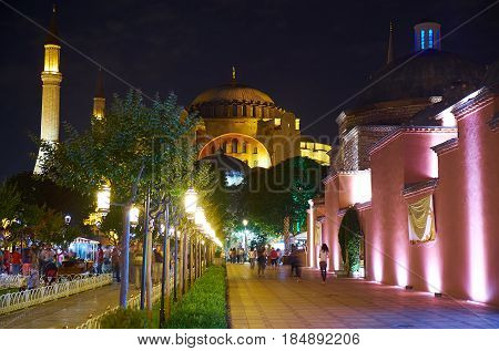 The Night View Of Walkway To Hagia Sophia  Throught The Sultan Ahmet Park, Istanbul