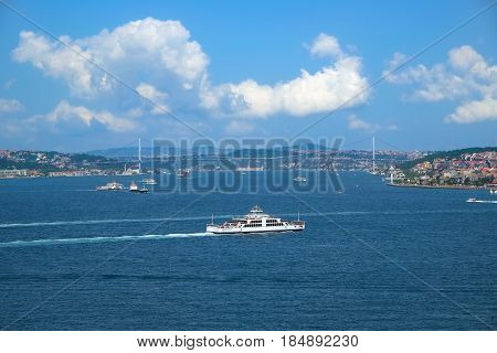 The view of the Bosphorus with the Bosphorus bridge from the Topkapi Palace. Istanbul Turkey.