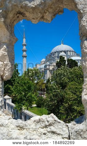The View Of Suleymaniye Mosque Through The Stone Wall Frame, Istanbul